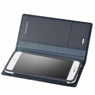 GRAMAS クロコダイル型押しフルレザー手帳型ケース ネイビー iPhone 6s/6