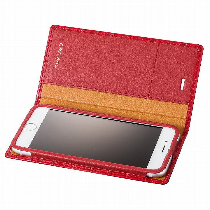 【iPhone6s/6ケース】GRAMAS クロコダイル型押しフルレザー手帳型ケース レッド iPhone 6s/6_0