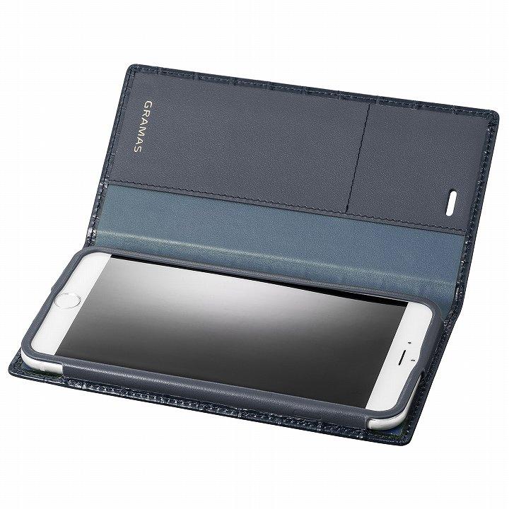 iPhone6s Plus/6 Plus ケース GRAMAS クロコダイル型押しフルレザー手帳型ケース ネイビー iPhone 6s Plus/6 Plus_0