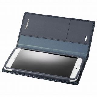 GRAMAS クロコダイル型押しフルレザー手帳型ケース ネイビー iPhone 6s Plus/6 Plus