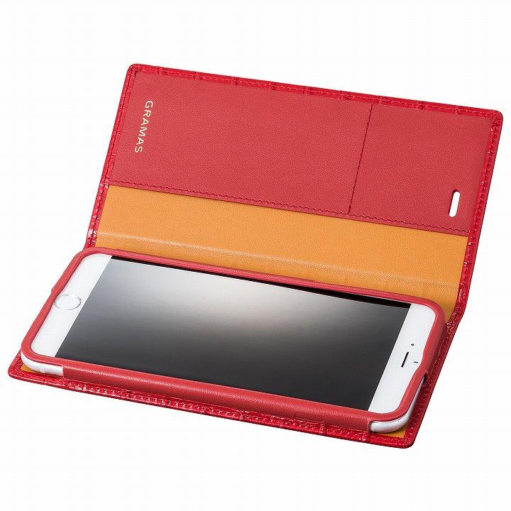 iPhone6s Plus/6 Plus ケース GRAMAS クロコダイル型押しフルレザー手帳型ケース レッド iPhone 6s Plus/6 Plus_0