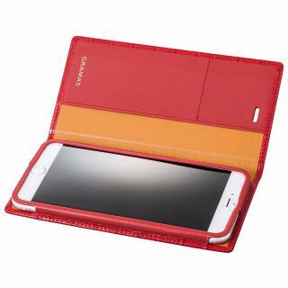 GRAMAS クロコダイル型押しフルレザー手帳型ケース レッド iPhone 6 Plus