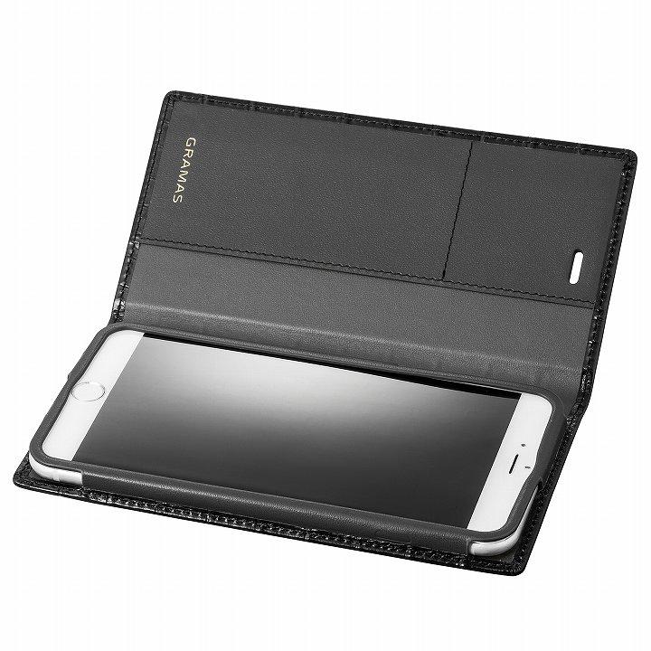 【iPhone6s Plus/6 Plusケース】GRAMAS クロコダイル型押しフルレザー手帳型ケース ブラック iPhone 6s Plus/6 Plus_0