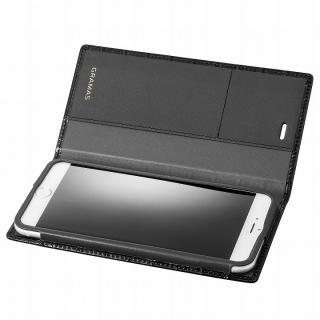 GRAMAS クロコダイル型押しフルレザー手帳型ケース ブラック iPhone 6s Plus/6 Plus