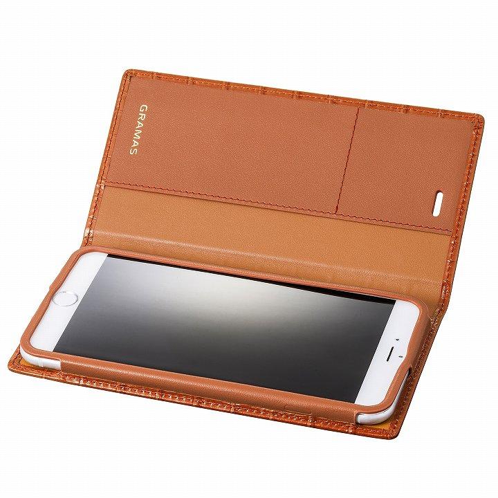 GRAMAS クロコダイル型押しフルレザー手帳型ケース タン iPhone 6s Plus/6 Plus