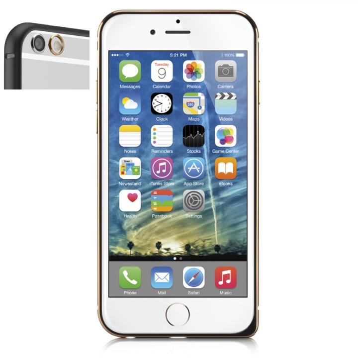 超軽量7gアルミバンパー ibacks Essence Bumper カメラレンズガード付 ブラック iPhone 6