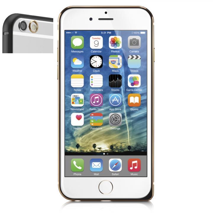iPhone6 ケース 超軽量7gアルミバンパー ibacks Essence Bumper カメラレンズガード付 ブラック iPhone 6_0