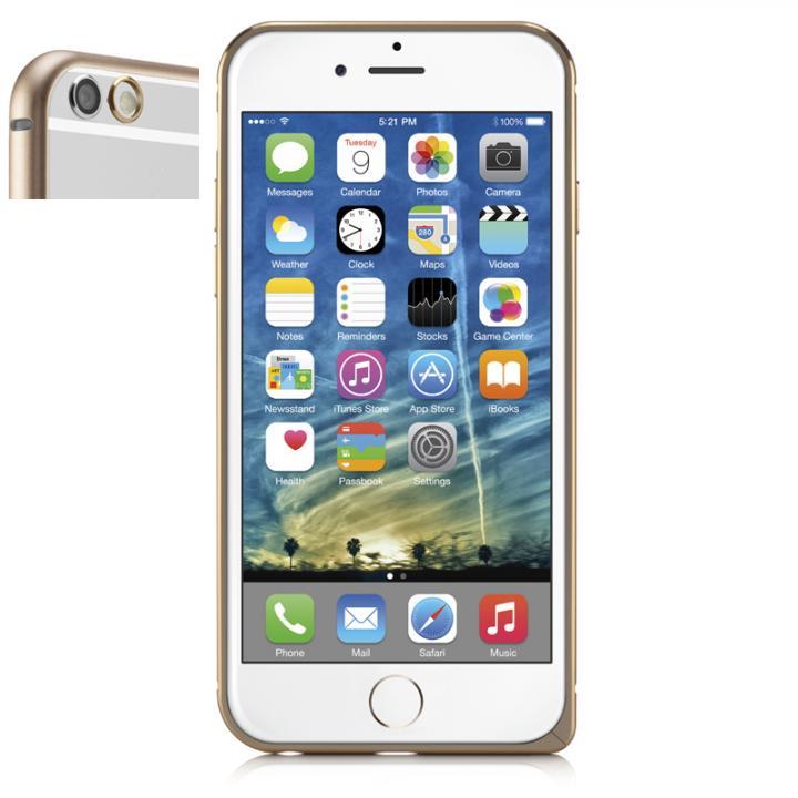 超軽量7gアルミバンパー ibacks Essence Bumper カメラレンズガード付 ゴールド iPhone 6