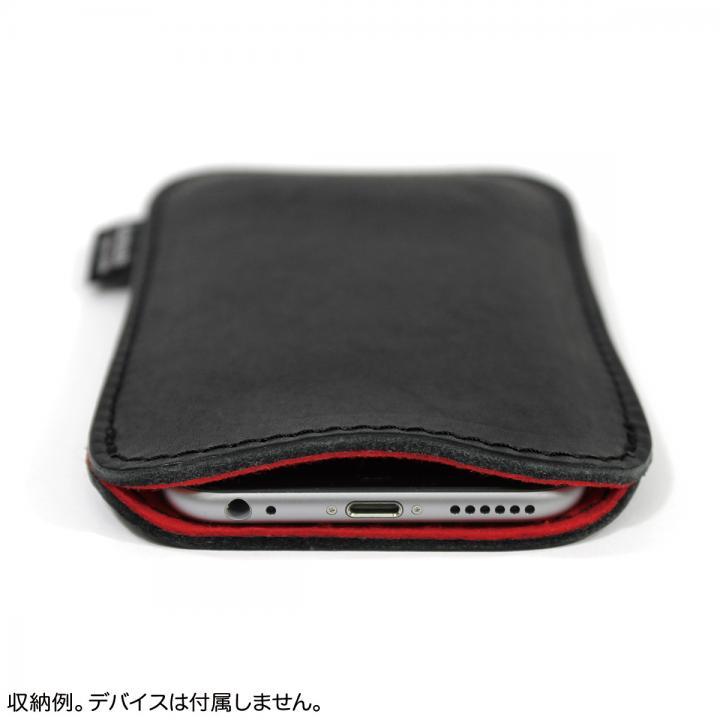 国立商店 職人が作るオイルドレザースリーブ ルーズフィットモデル ブラック×レッド iPhone 6 Plusケース