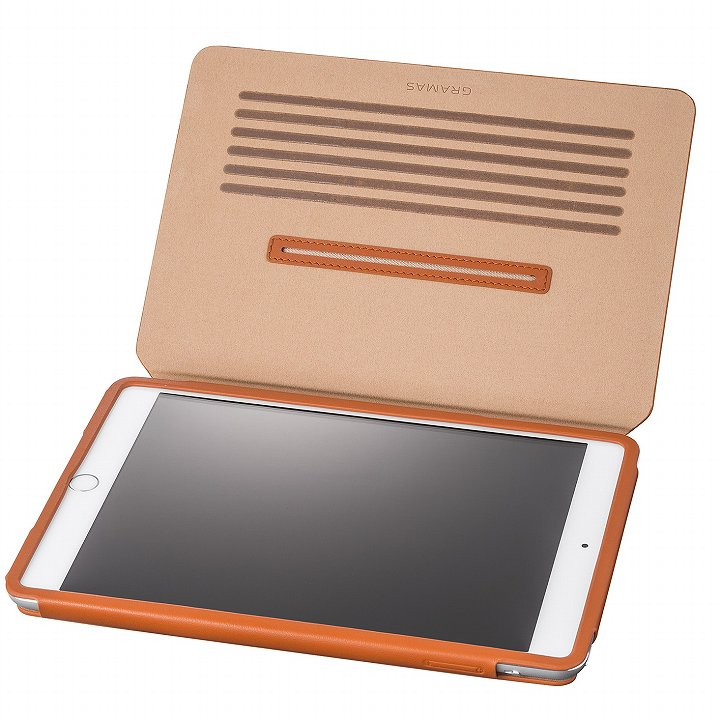 GRAMAS レザー手帳型ケース タン iPad mini /2/3_0