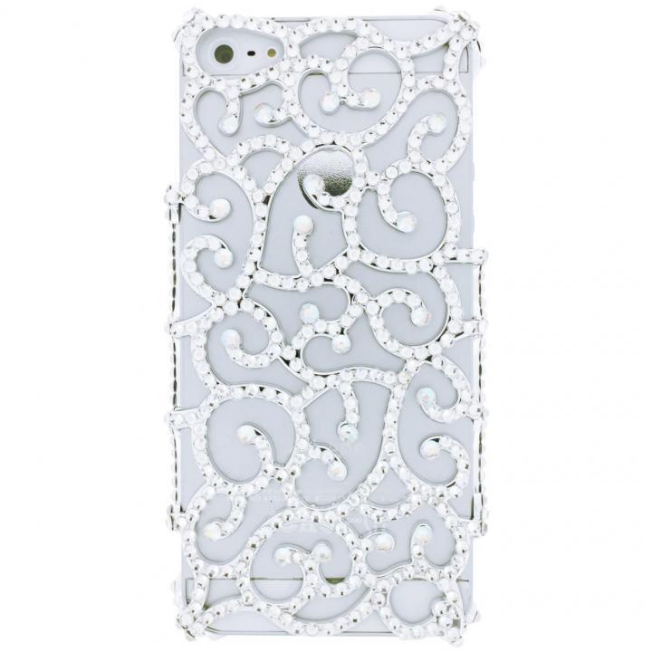 iPhone SE/5s/5 ケース iPhone SE/5s/5 フルペーストデコレーションケース Arabesque SILVER_0