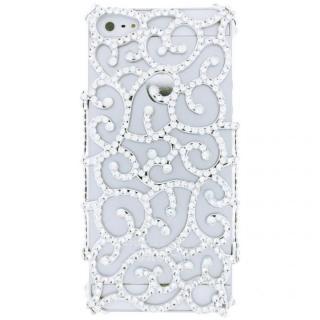 【iPhone SE/5s/5ケース】iPhone SE/5s/5 フルペーストデコレーションケース Arabesque SILVER
