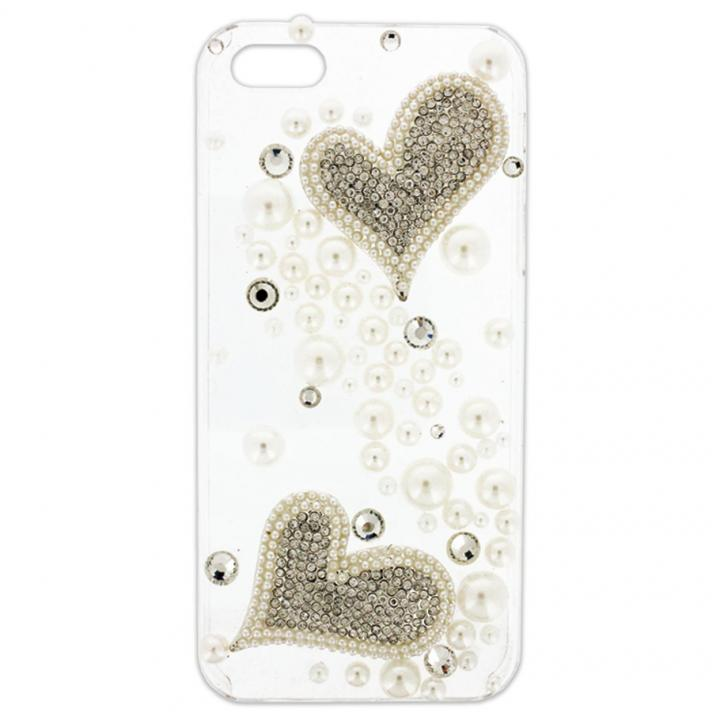 iPhone SE/5s/5 クリアデコレーションケース Piled Up Heart CLEAR