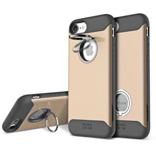 背面リング付ケース DESIGN SKIN STANDO ゴールド iPhone 7