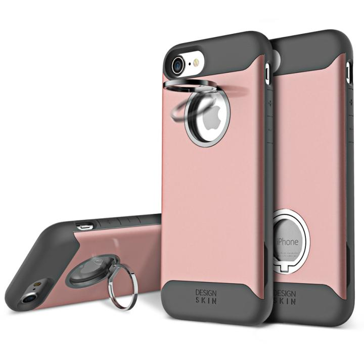 【iPhone7ケース】背面リング付ケース DESIGN SKIN STANDO ローズゴールド iPhone 7_0