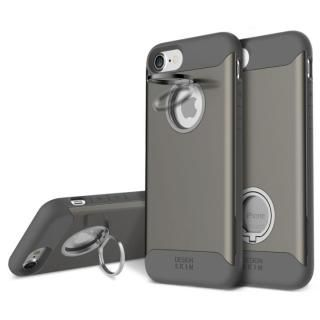背面リング付ケース DESIGN SKIN STANDO ダークグレイ iPhone 7