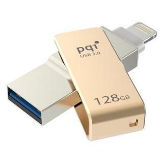 PQI MFi認証 Lightningコネクタ搭載USB3.0メモリ 128GB/ゴールド【8月下旬】