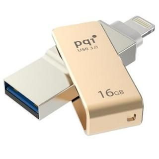 PQI MFi認証 Lightningコネクタ搭載USB3.0メモリ 16GB/ゴールド