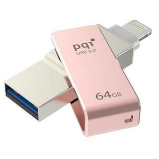 PQI MFi認証 Lightningコネクタ搭載USB3.0メモリ 64GB/ローズゴールド【9月下旬】