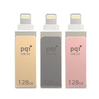 PQI MFi認証 Lightningコネクタ搭載USB3.0メモリ 128GB/ゴールド_1