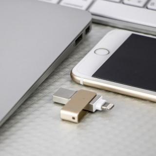 PQI MFi認証 Lightningコネクタ搭載USB3.0メモリ 128GB/ゴールド_5