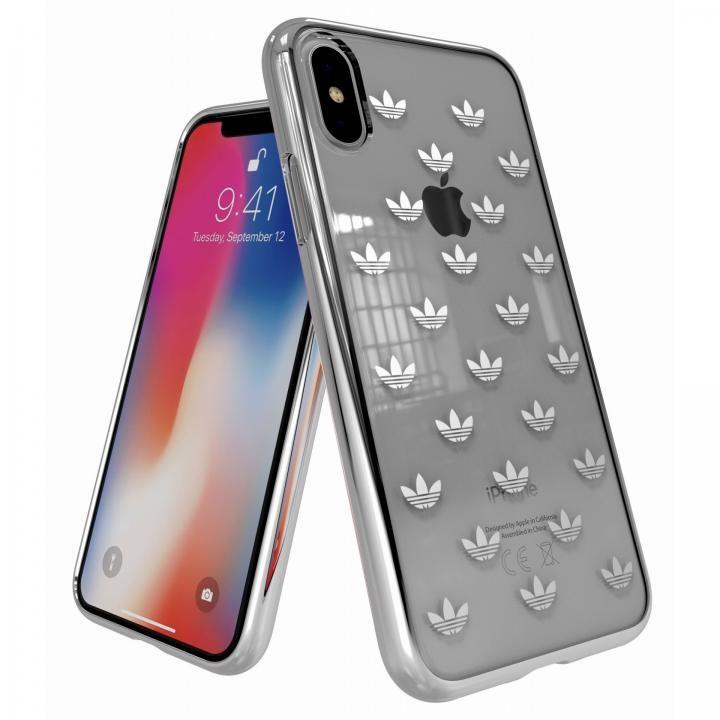 【iPhone XS/Xケース】adidas Originals クリアケース iPhone XS/X Trefoils Silver logo_0