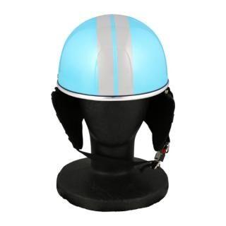 バイク用品 ハーフヘルメット ゴーグル無し 約57~60cm未満 ライトブルー