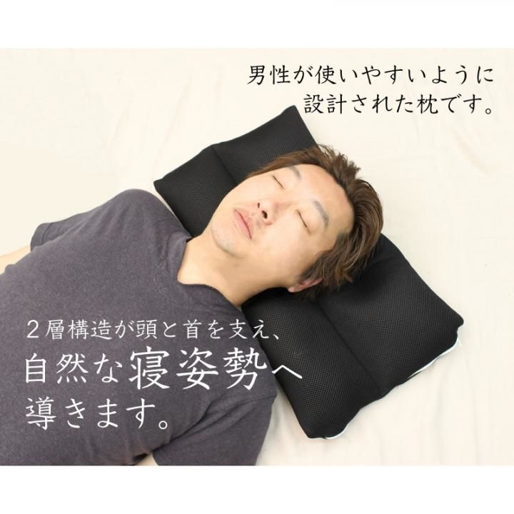 丸洗いもできる男性用ネックフィット枕_0