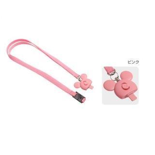 Lightningコネクタ用ネックストラップ ミッキーマウスアイコン/ピンク