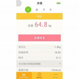 iPhone対応体重体組成計 Bluetoothモデル karadafit Scan ホワイト_3