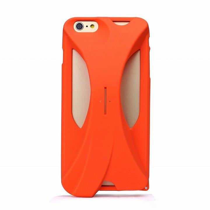 装着で音量増幅 サウンドアンプケース オレンジ iPhone 6s Plus/6 Plus