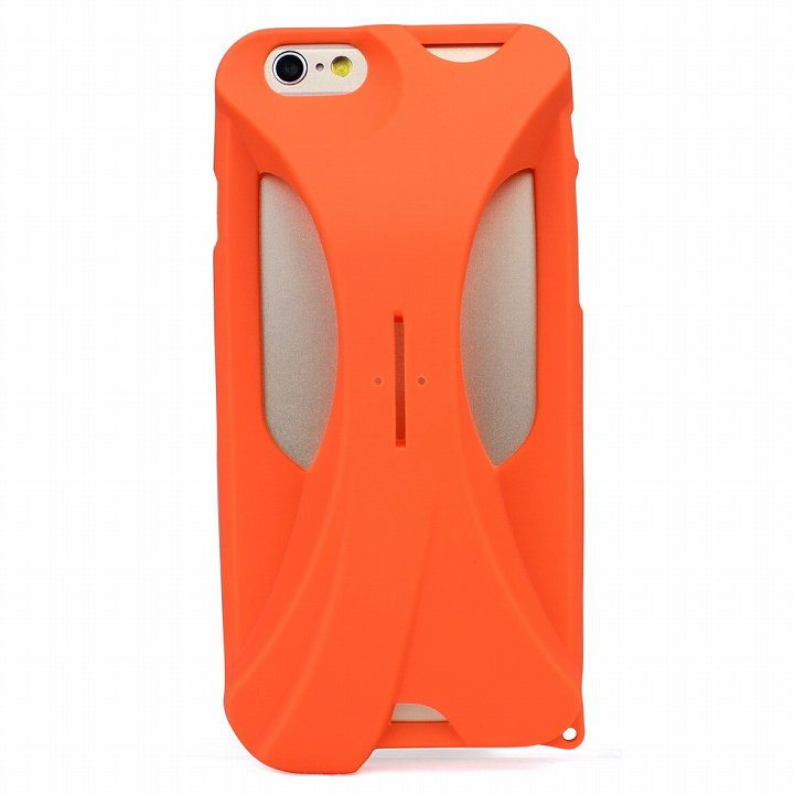 装着で音量増幅 サウンドアンプケース オレンジ iPhone 6