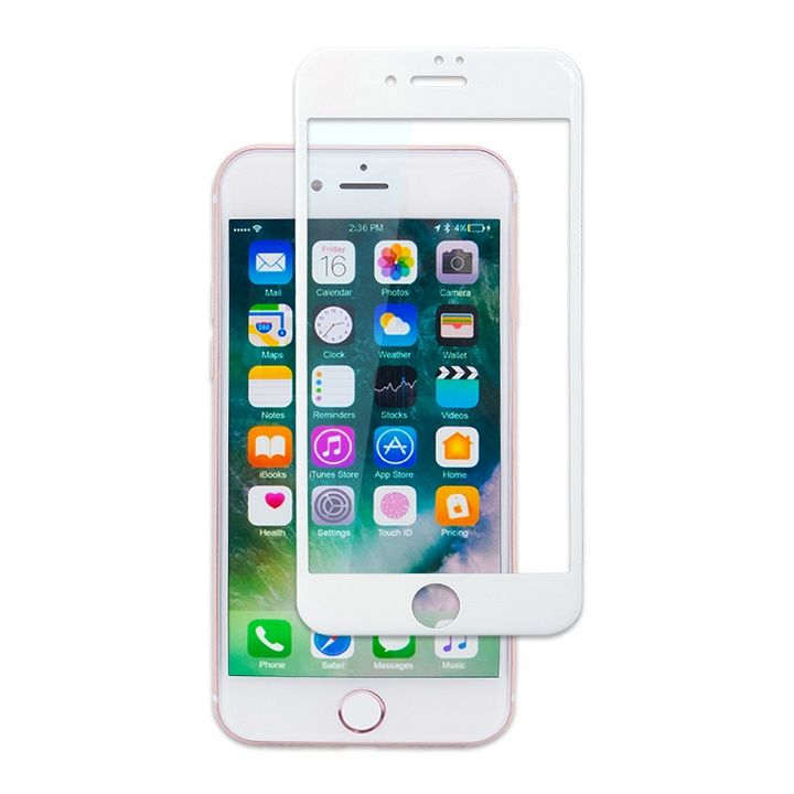 【iPhone7フィルム】PETフレーム 強化ガラス ホワイト iPhone 7_0