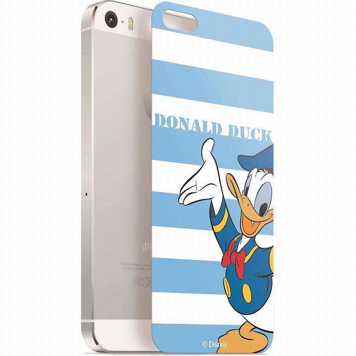 iPhone SE/5s/5 フィルム ディズニー 背面強化ガラス ドナルドダック ボーダー iPhone SE/5s/5_0