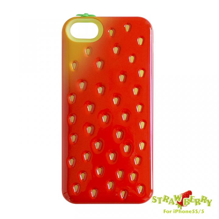【iPhone SE/5s/5ケース】poppin-strawberry ICカード収納可能 iPhone SE/5s/5ケース / レッド_0