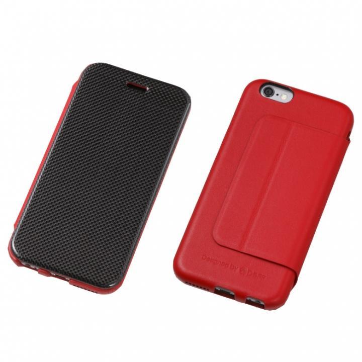 【iPhone6/6sケース】Deff カーボンファイバー&天然レザー手帳型ケース レッド iPhone 6s/6_0