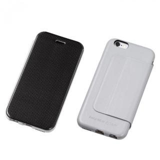 Deff カーボンファイバー&天然レザー手帳型ケース グレイ iPhone 6s/6