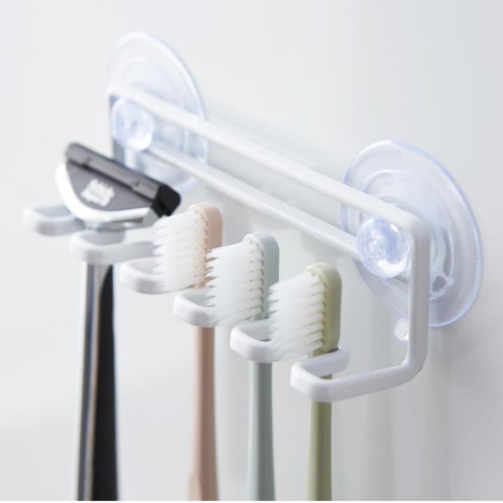 吸盤取り付け 歯ブラシホルダー タワー 5連 ホワイト