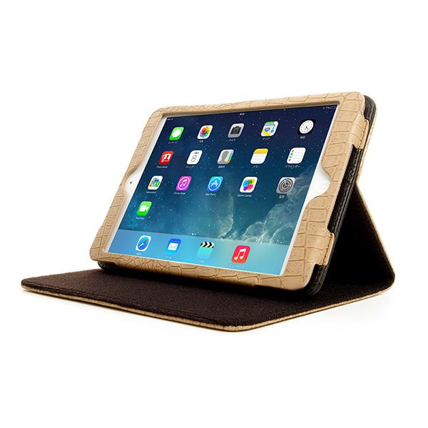 Bluevision クロコ押しPUレザーケース for iPad mini Retina ブラウン 送料無料