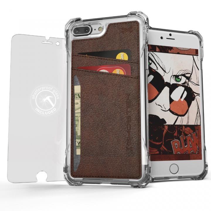 TPU+PUレザー ハイブリッドウォレットケース Ghostek Exec クリアブラウン iPhone 7 Plus