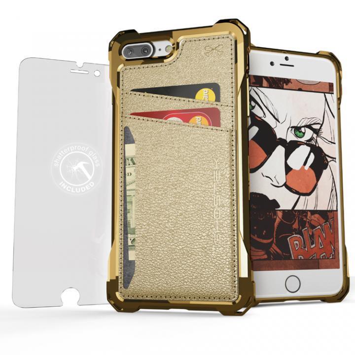 TPU+PUレザー ハイブリッドウォレットケース Ghostek Exec ゴールド iPhone 7 Plus
