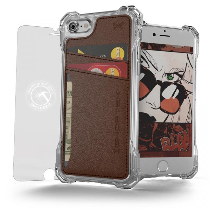 iPhone7 ケース TPU+PUレザー ハイブリッドウォレットケース Ghostek Exec クリアブラウン iPhone 7_0