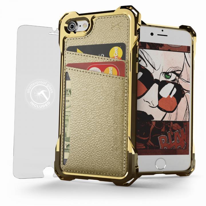 iPhone7 ケース TPU+PUレザー ハイブリッドウォレットケース Ghostek Exec ゴールド iPhone 7_0