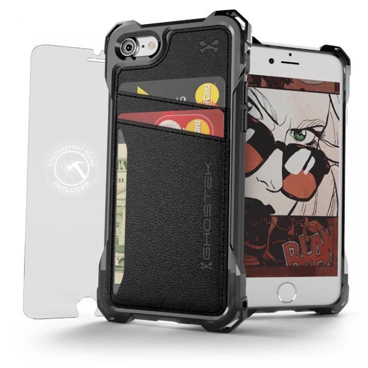 TPU+PUレザー ハイブリッドウォレットケース Ghostek Exec ブラック iPhone 7