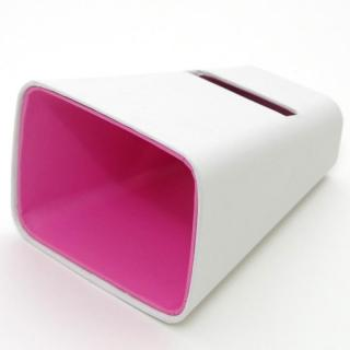 電源不要の紙製スピーカースタンド スマートホーン ホワイト×ピンク iPhone 4/4S/5/5S/5C