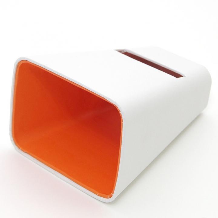 【50%OFF】電源不要の紙製スピーカースタンド スマートホーン ホワイト×オレンジ  iPhone 4/4S/5/5S/5C_0