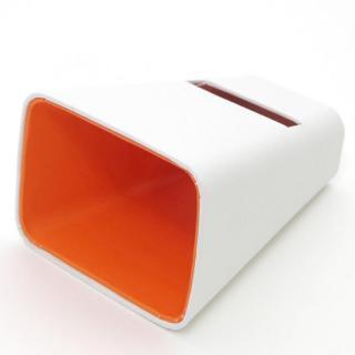 【50%OFF】電源不要の紙製スピーカースタンド スマートホーン ホワイト×オレンジ  iPhone 4/4S/5/5S/5C