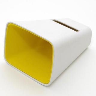 電源不要の紙製スピーカースタンド スマートホーン ホワイト×イエロー iPhone 4/4S/5/5S/5C
