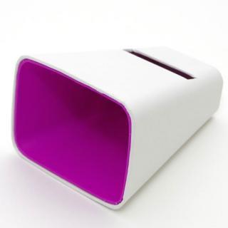 電源不要の紙製スピーカースタンド スマートホーン ホワイト×パープル iPhone 4/4S/5/5S/5C