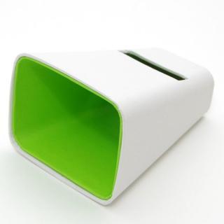 電源不要の紙製スピーカースタンド スマートホーン  ホワイト×グリーン iPhone 4/4S/5/5S/5C